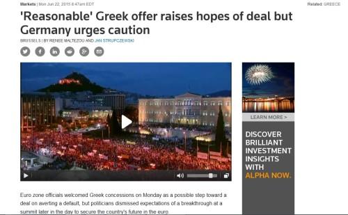 REUTERS: Η νέα πρόταση γεννάει ελπίδα για συμφωνία.