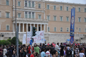 Συλλαλητήριο ΑΝΤΑΣΡΥΑ - ΜΑΡΣ - ΑΝΤΙ ΕΕ ΦΟΡΟΥΜ - ΚΙΝΗΜΑΤΩΝ 28.06.2015 - γραφεία Ε.Ε - Βουλή - Σύνταγμα