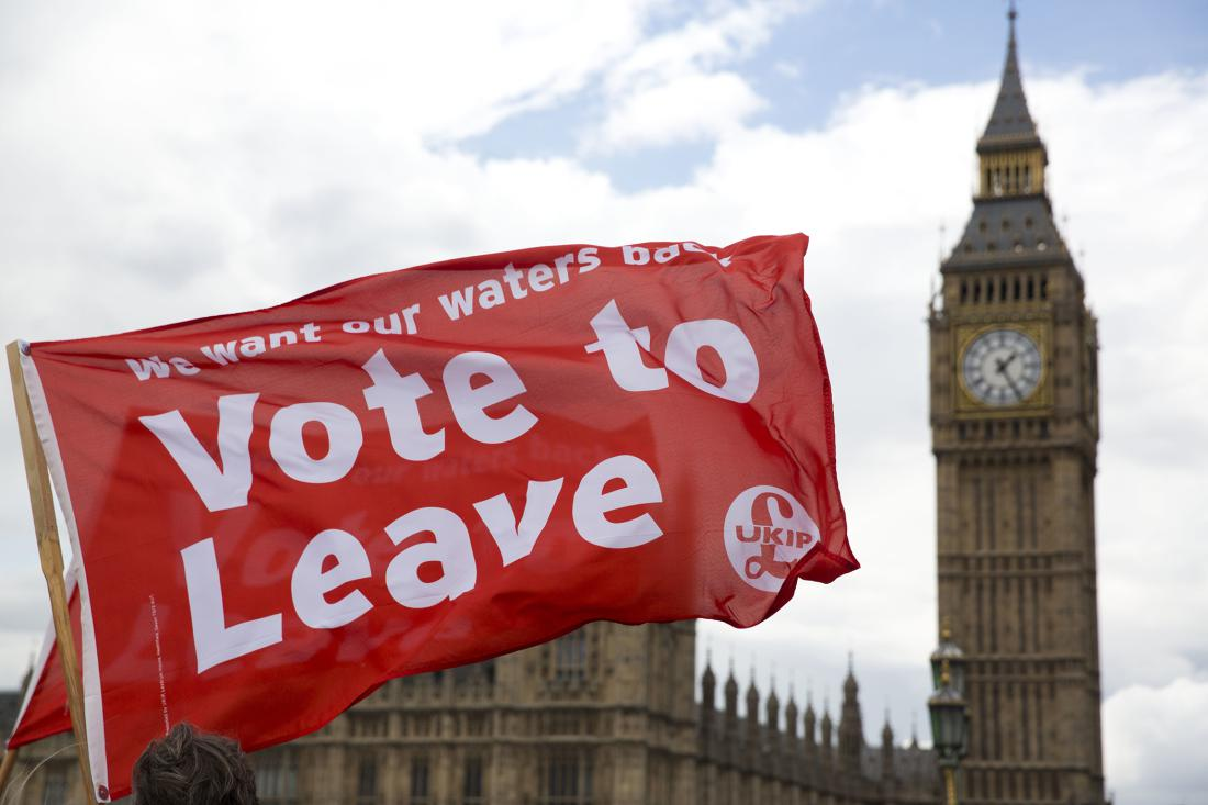 """Leave supporters hold flags as they stand on Westminster Bridge during an EU referendum campaign stunt in which a flotilla of boats supporting """"Leave"""" sailed up the River Thames outside the Houses of Parliament in London, Wednesday, June 15, 2016. A flotilla of boats protesting EU fishing polices has sailed up the River Thames to the Houses of Parliament as part of a campaign backing Britain's exit from the European Union. The flotilla was greeted by boats carrying """"remain"""" supporters."""